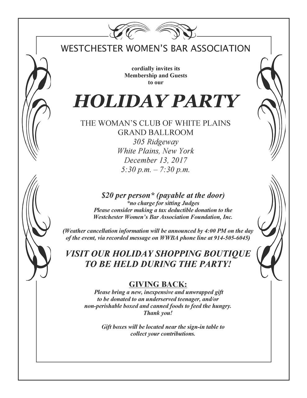 Westchester womens bar association wwba holiday party 2017 the womans club of white plains white plains ny stopboris Choice Image
